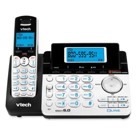 VTech DS6151 DECT 6.0 2-Line Expandable Cordless Phone with Answering System, Silver/Black with 1 Handset