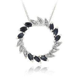 Glitzy Rocks Sterling Silver Diamond Accent and Sapphire Circle Pendant