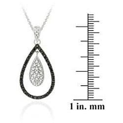 DB Designs Sterling Silver Black Diamond Accent Teardrop Necklace