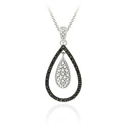 DB Designs Sterling Silver Black Diamond Accent Teardrop Necklace