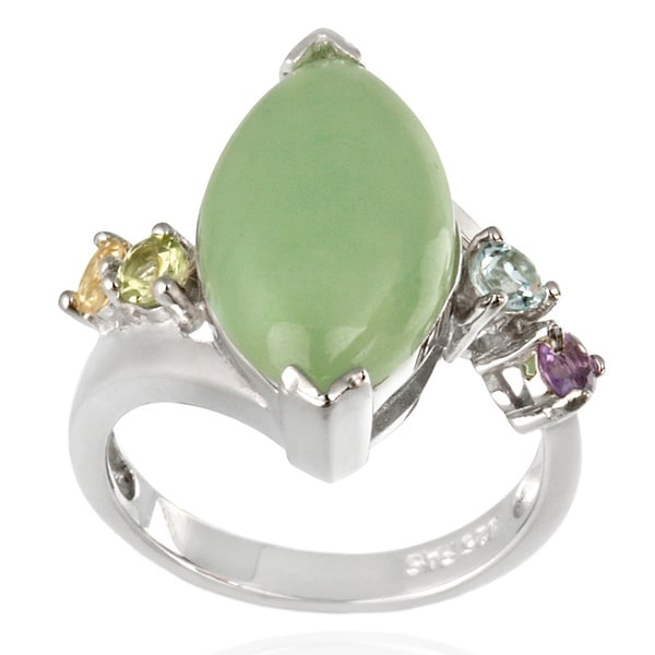 Glitzy Rocks Sterling Silver Green Jade and Multi-gemstone Ring. Opens flyout.