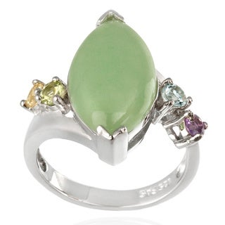 Glitzy Rocks Sterling Silver Green Jade and Multi-gemstone Ring