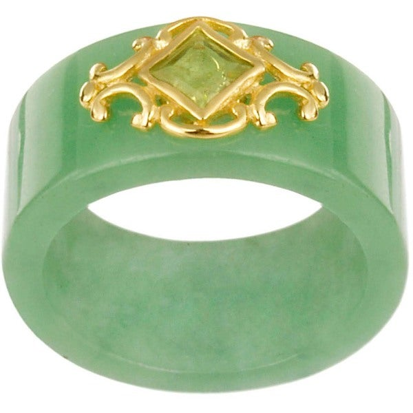 Glitzy Rocks 18k Gold over Sterling Silver Created Jade and Peridot Ring