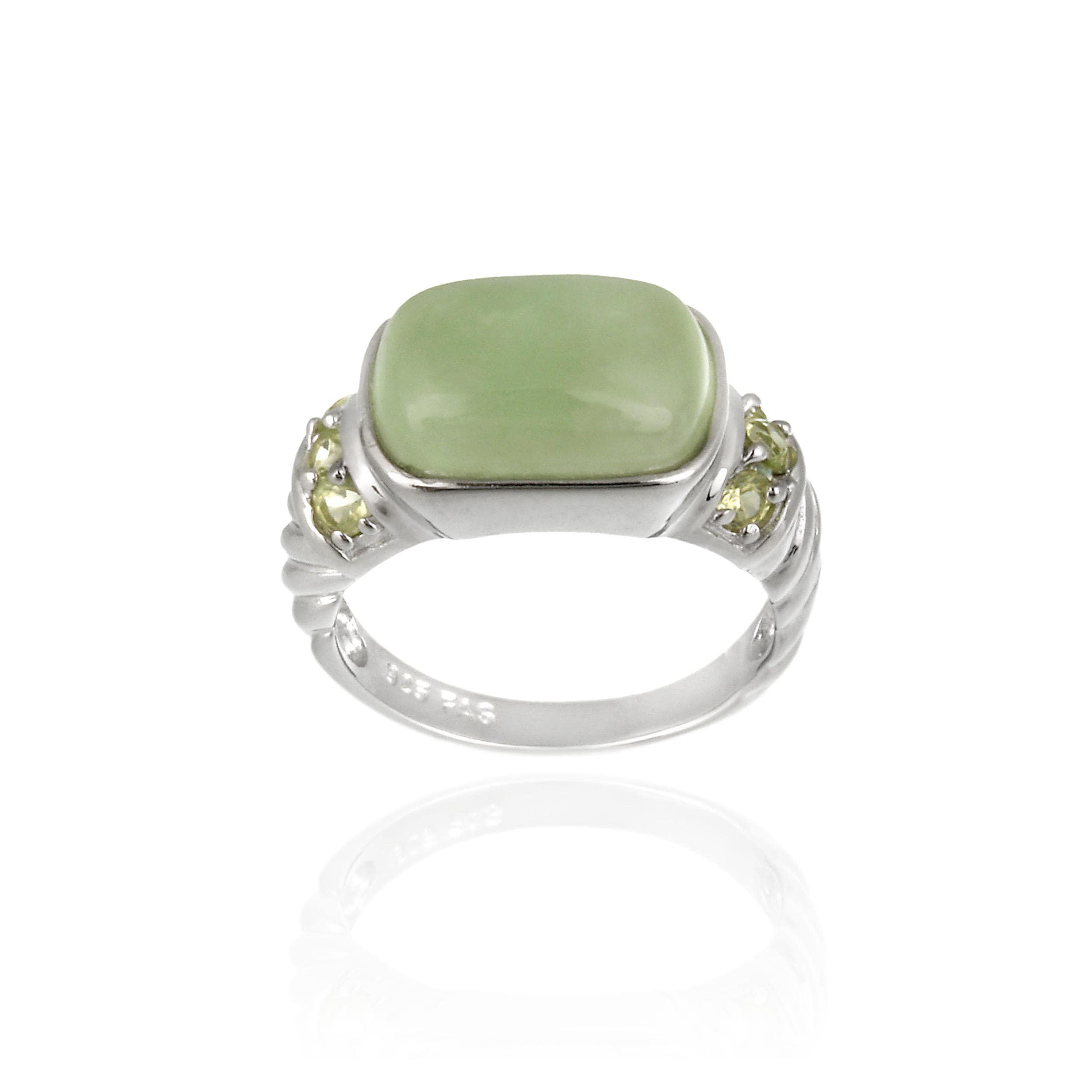 Glitzy Rocks Sterling Silver Green Jade and Peridot Ring Free Shipping O