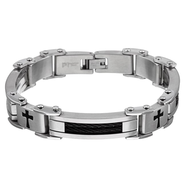 Two-tone Stainless Steel Men's Cross Bracelet