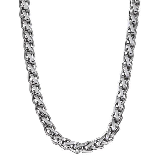 Stainless Steel 24-inch Woven Pattern Necklace