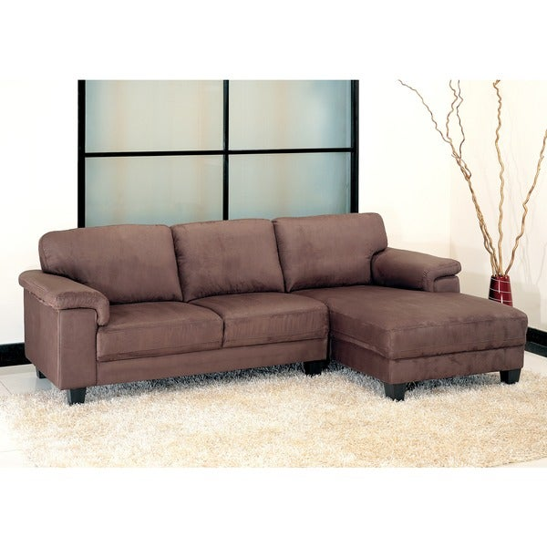 Abbyson Capri Dark Brown Microsuede Sectional Sofa