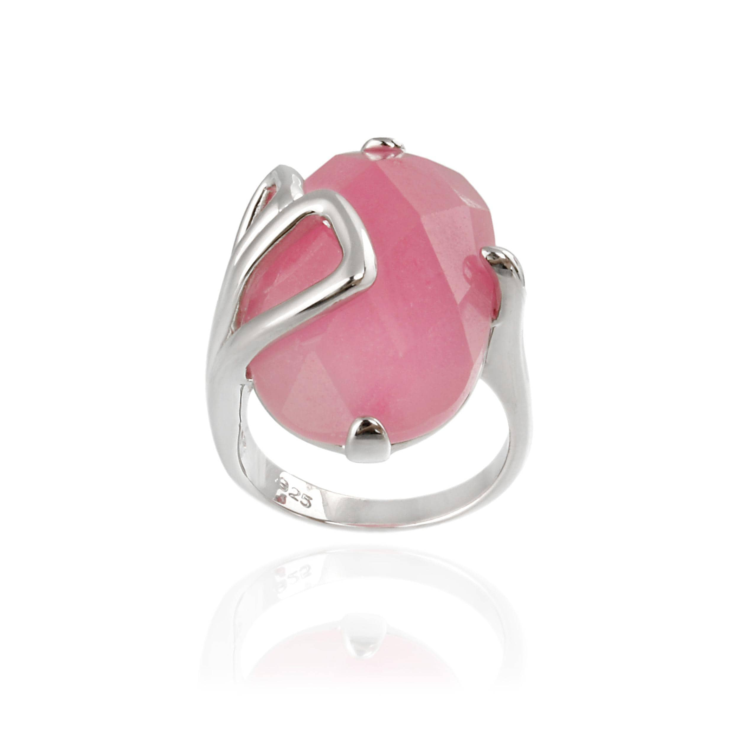 Shop Glitzy Rocks Sterling Silver Oval Pink Jade Ring - On Sale ...