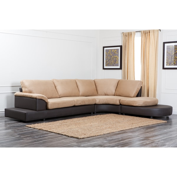 Abbyson Living Cabo Mocha Microsuede Sectional Sofa Set