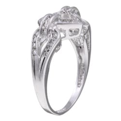 Sterling Essentials Sterling Silver Clear Cubic Zirconia Heart Ring - Thumbnail 1