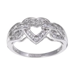 Sterling Essentials Sterling Silver Clear Cubic Zirconia Heart Ring