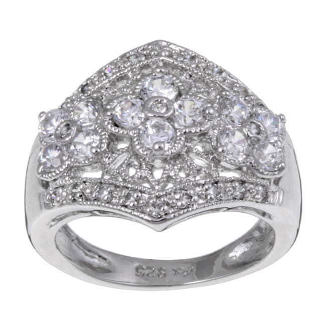 Sterling Essentials Sterling Silver Cubic Zirconia Flower Ring