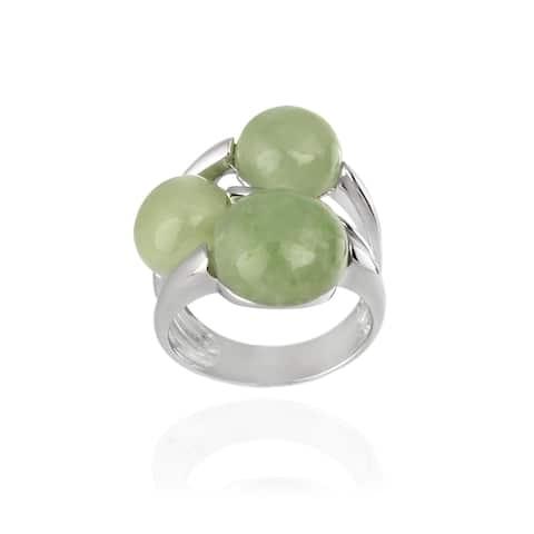 Glitzy Rocks Sterling Silver Rhodium-plated Bubble Jade Ring