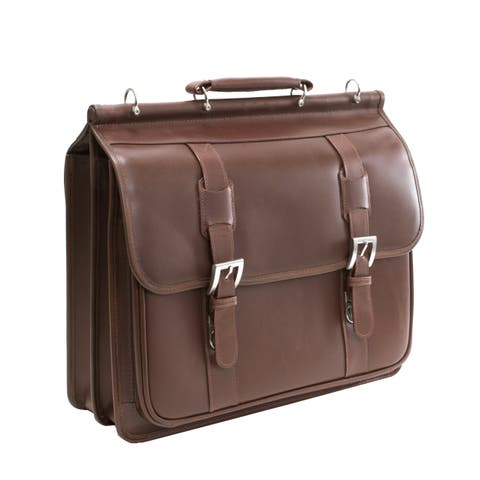 Siamod 'Signorini' Leather Double Compartment Laptop Briefcase