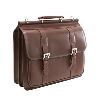 Siamod 'Signorini' Leather Double Compartment Laptop Briefcase