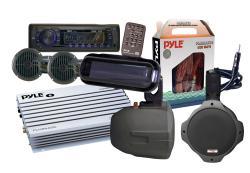 Pyle KTMRAK14BK 6-speaker Marine AM/ FM SD/ USB Complete Stereo Kit - Thumbnail 1