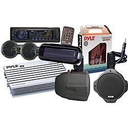 Pyle KTMRAK14BK 6-speaker Marine AM/ FM SD/ USB Complete Stereo Kit