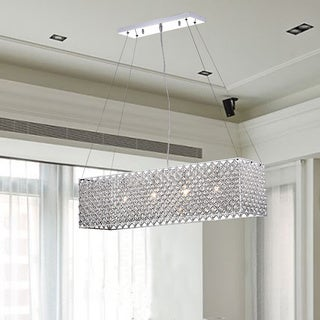 Chrome/ Crystal 4-light Rectangular Adjustable-height Chandelier