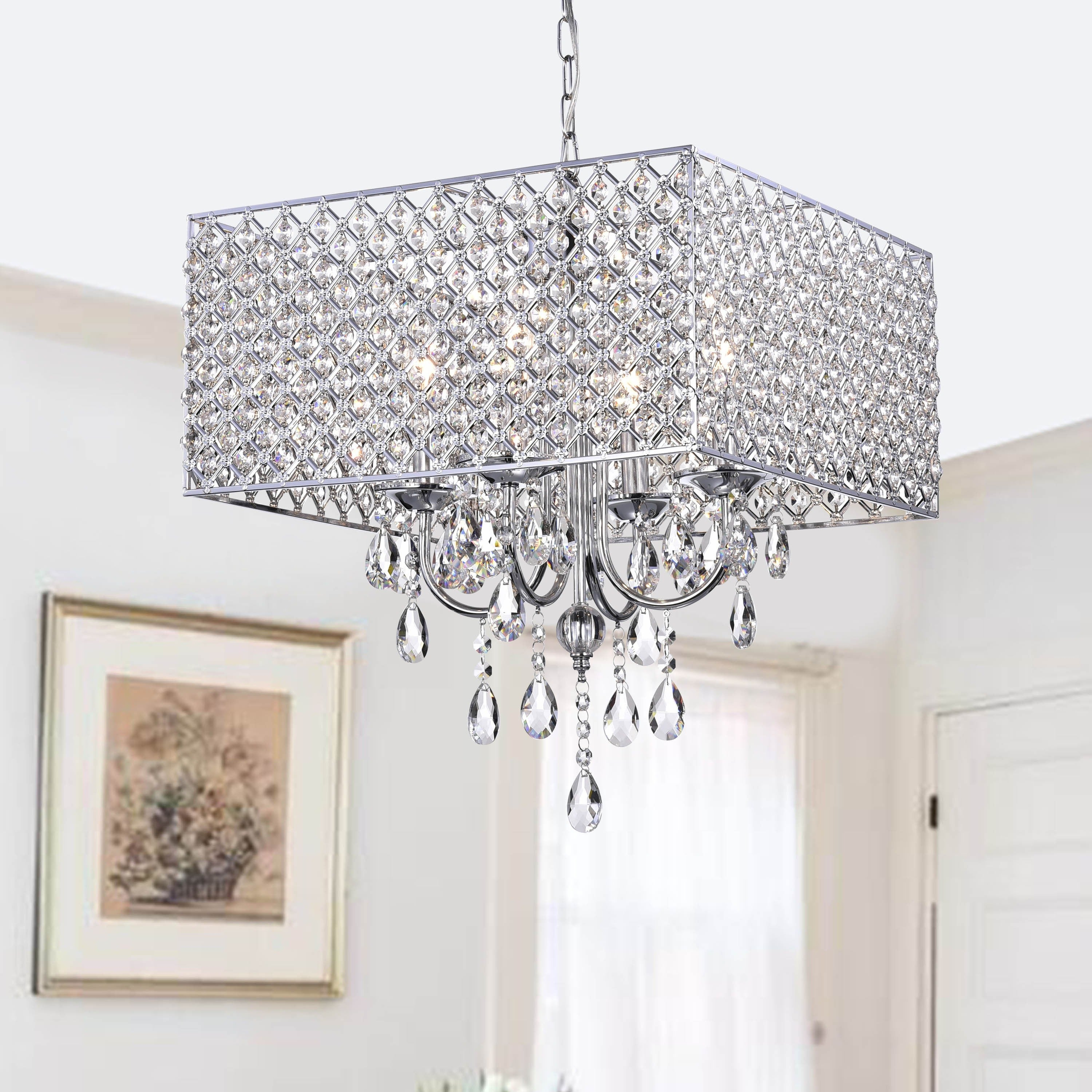 Chrome Crystal 4 Light Square Chandelier