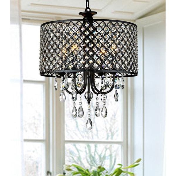 Bathroom Light Fixtures Overstock antique black 4-light round crystal chandelier - free shipping