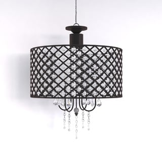 Porch & Den Cherrywood Merrie Lynn Antique Black 4-light Round Crystal Chandelier