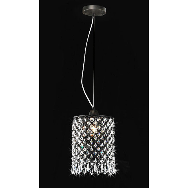 Antique Black Mini-pendant 1-light Round Crystal Chandelier
