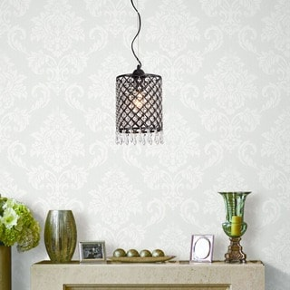 Silver Orchid Tierney Antique Black Mini-pendant 1-light Round Crystal Chandelier