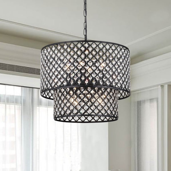 Shop Antique Black 8-light Double Round Crystal Chandelier