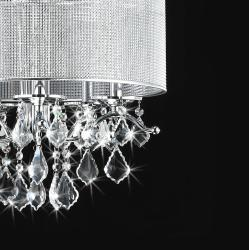 Silver Rhinestone Shade 5-light Round Crystal Chandelier - Thumbnail 1