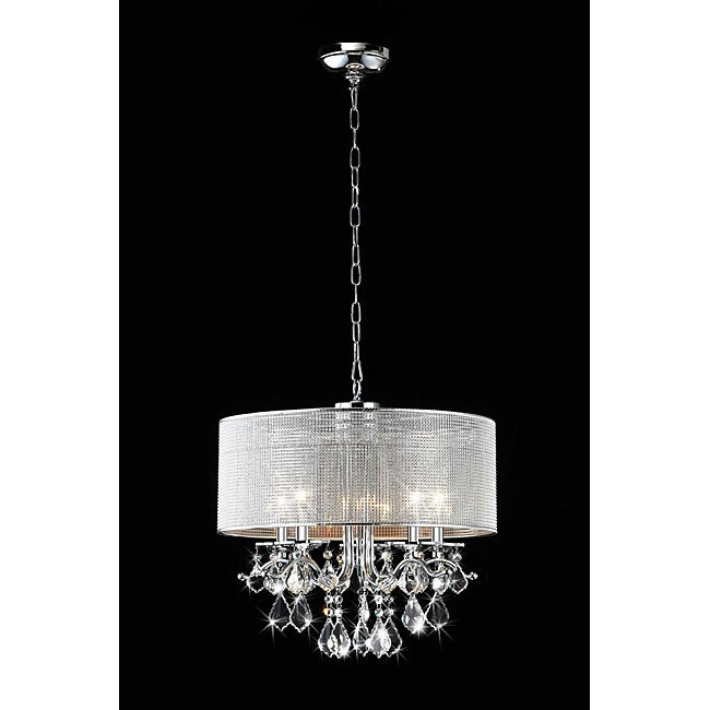 Silver Rhinestone Shade 5-light Round Crystal Chandelier - Thumbnail 0