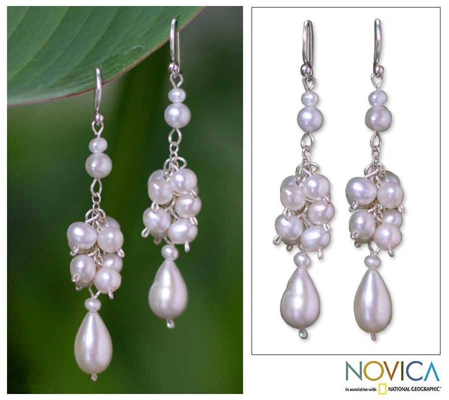 Handmade Sterling Silver 'Celebration' Pearl Cluster Hook Earrings (Thailand)