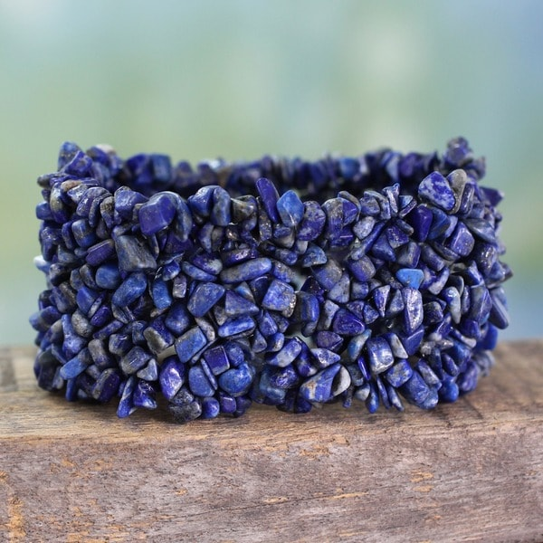 Handmade Mermaid Song Natural Uncut Polished Blue Lapis Lazuli Gemstone Womens Wide Stretch Bracelet (India)
