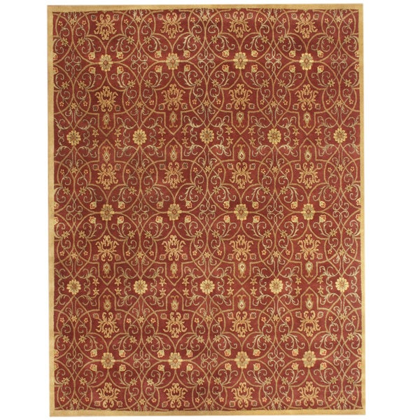 Alliyah Handmade Rust and Gold New Zealand Blend Wool Rug - 8' x 10'