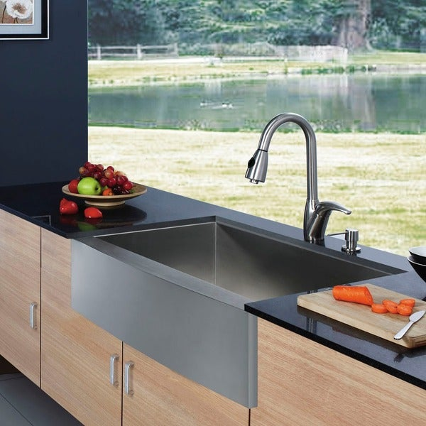 VIGO Farmhouse Stainless-Steel Kitchen Sink Dispenser and Single-Handle Faucet
