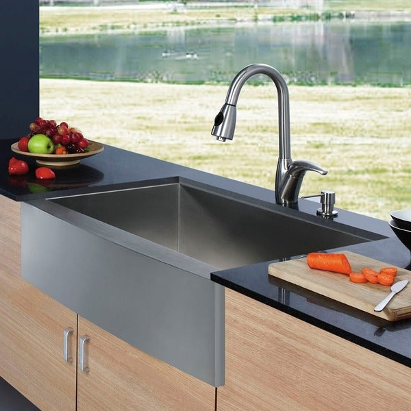 VIGO Farmhouse Stainless Steel Kitchen Sink and Faucet with Dispenser