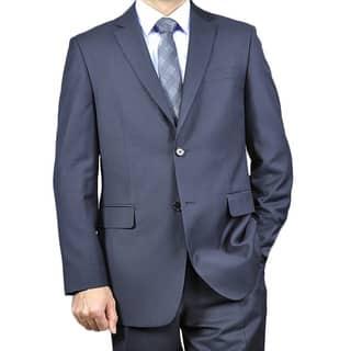 Men's Wool & Silk Blend Black 2-Button Suit