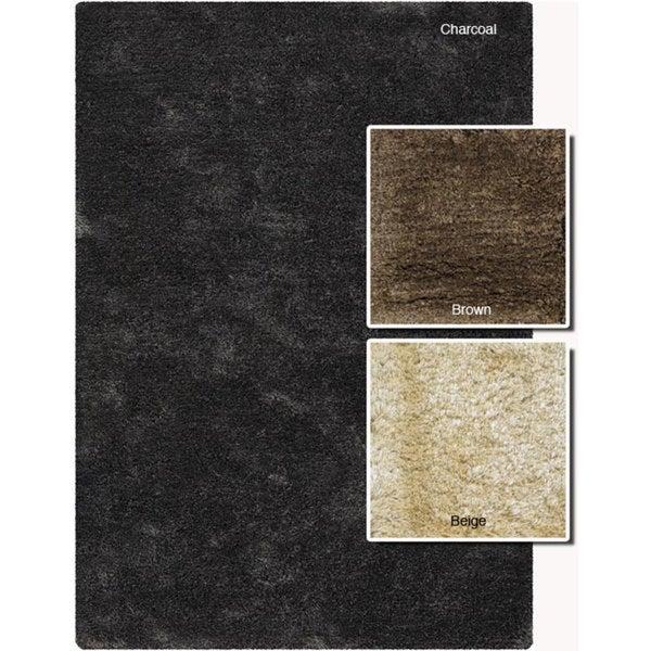 "Contemporary Handwoven Mandara Wool-Blend Shag Rug (7'9"" Round)"