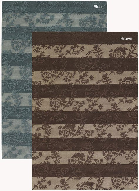 Artist's Loom Hand-tufted Transitional Floral Rug (7'9 x 10'6) - 7'9 x 10'6