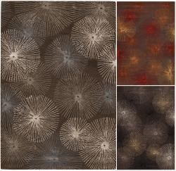Hand-tufted Mandara New Zealand Wool Abstract Rug (7'9 Round) - Thumbnail 1