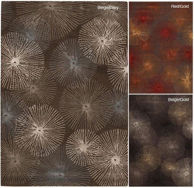 Hand-tufted Mandara New Zealand Wool Abstract Rug (7'9 Round)