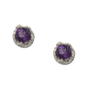 Junior Jewels Sterling Silver Crown-set Round Amethyst Stud Earrings