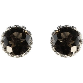 Gioelli Sterling Silver Crown-set Round Smokey Quartz Stud Earrings