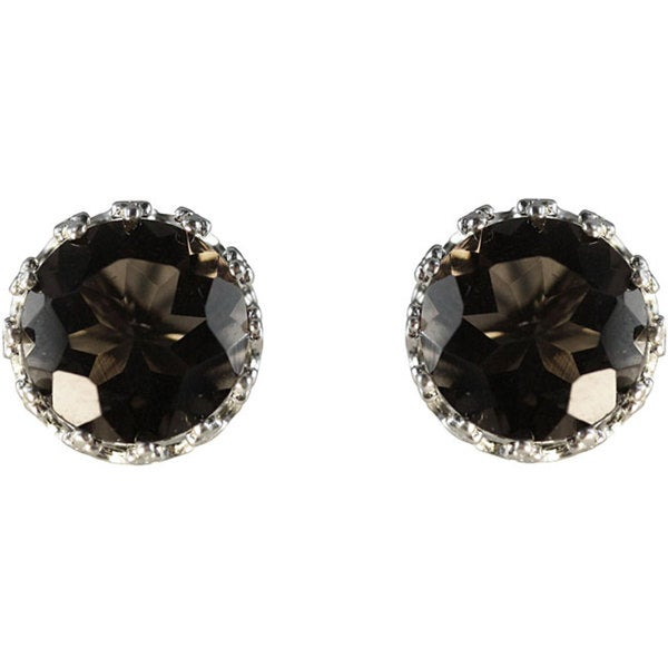 Gioelli Sterling Silver Crown-set Round Smokey Quartz Stud Earrings