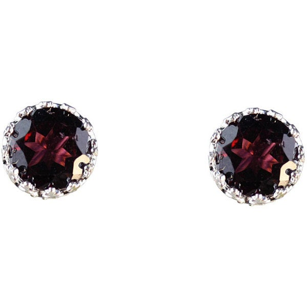 Junior Jewels Sterling Silver Crown-set Round Garnet Stud Earrings