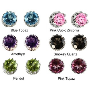Gioelli Tiara Collection Sterling Silver Children's 4mm Gemstone Crown Earrings