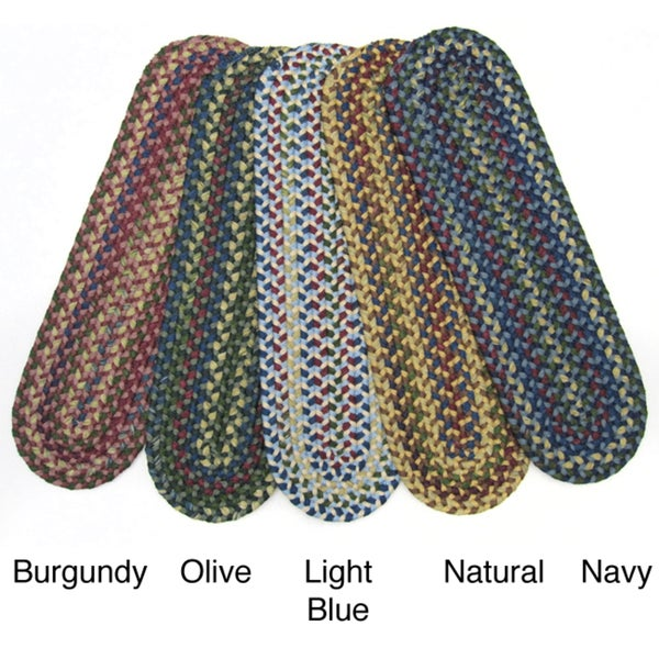 Monticello Set of 4 Reversible Braided Stair Tread Rugs (9-inch x 2'5)