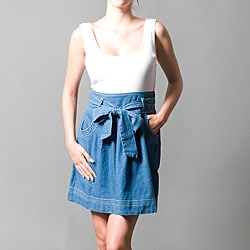 Wishes Women's Denim and White Cotton Dress