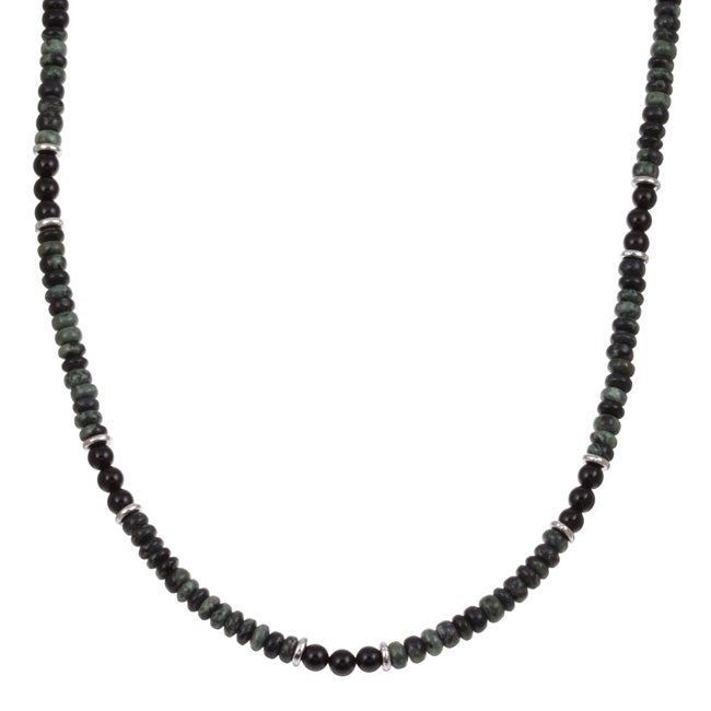 Charming Life Men's Silver 20-inch Green Jasper and Onyx Necklace
