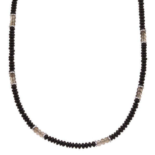 Lola's Jewelry Men's Matte Black Onyx and Smokey Quartz Necklace