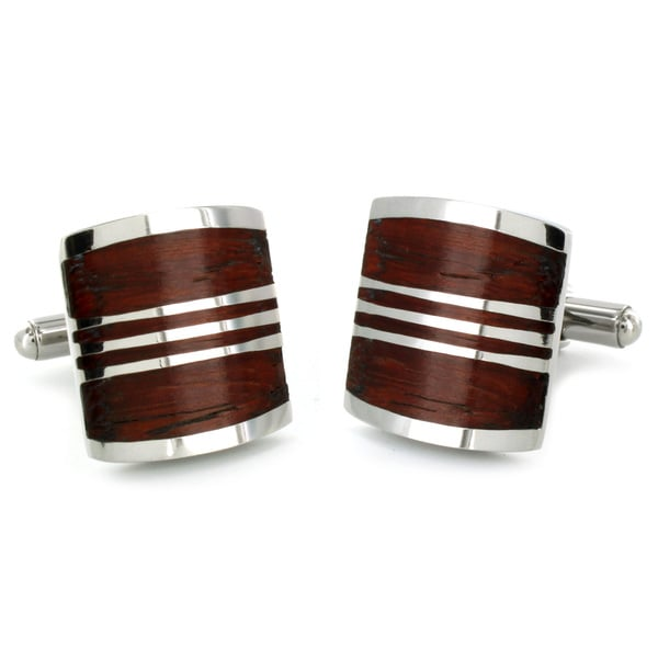 West Coast Jewelry Stainless Steel Red Wood Inlay Art Deco Cuff Links
